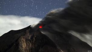 A night-time pic of Mount Sinabung's crater. The volcano hasn't erupted since 2010, but officials have raised the alert to the highest level. It is one of around 130 active volcanoes in Indonesia.