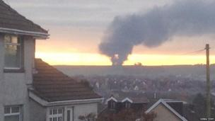 Debra Tovey took this picture of the smoke from the fire as seen in Bryntirion - around eight miles away