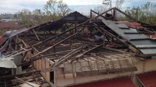 School roof damaged