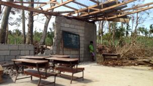 Classroom with roof and walls destroyed