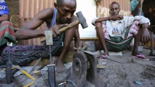 A Somali blacksmith at work in Mogadishu, Somalia - Tuesday 26 November 2013
