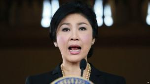 Thai Prime minister Yingluck Shinawatra at a news conference, 28 November