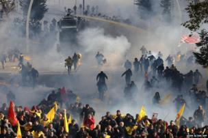 Turkish police fire tear gas and water cannon during a demonstration in Ankara