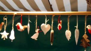 Bird, heart and bell decorations