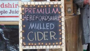 Blackboard advertising cider