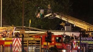 Emergency services at crash scene