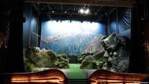 Giant pop-up book with mountain scene