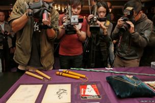 Martial art weapons that belonged to Bruce Lee at an auction preview