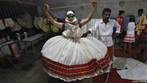 A Kathakali dancer at the annual Vrischikotsavam festival in the southern Indian city of Kochi