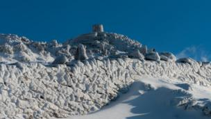 Ice walls on the top of Snowdon