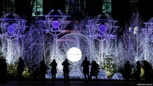 Christmas decorations light up the Champs Elysees avenue in Paris