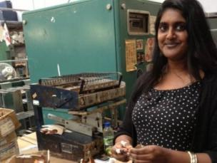 Geeta making shoes