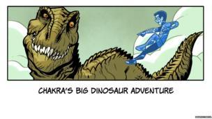 Chakra laughs at a big dinosaur