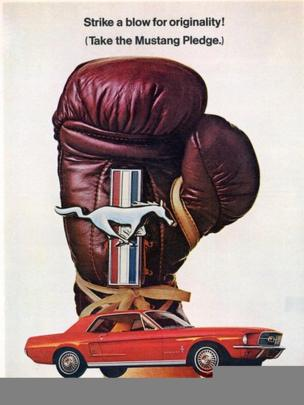 Boxing glove and Mustang car