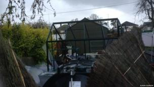 Storm damage at a home in Thornhill, Dumfries and Galloway
