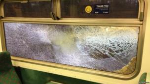 Storm damage to a train window