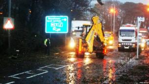 Storm damage affected roads in Stonehouse, South Lanarkshire