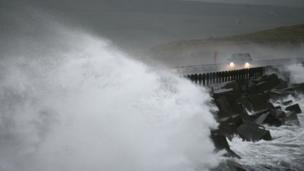 Motorists navigate through the storms in Orkney