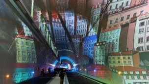 People visit a new tunnel reserved for pedestrians, bicycles and buses during its inauguration ceremony in the French city of Lyon.