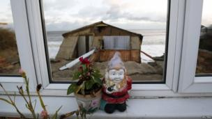 One of the five bungalows in Hemsby, Norfolk which fell into the sea