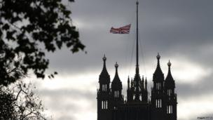 Flag flying half-mast above Big Ben