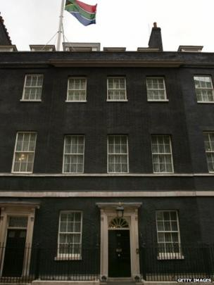 South African flag flies over Downing Street
