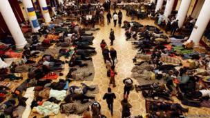 Protesters rest in Kiev's City Hall
