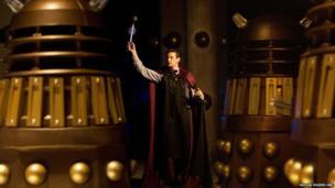 Matt Smith wields a Dalek's eye stalk