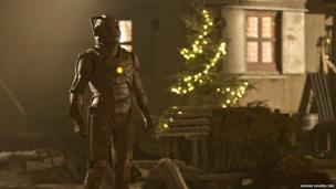 An unusual wooden Cyberman