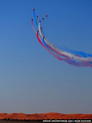 Red Arrows flying over the desert