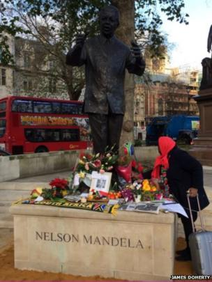 Floral tributes in London. Photo: James Doherty