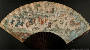 3. Printed hand-coloured fan depicting the Siege of Stirling, 1746