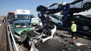 Aftermath of major pile-up on A249 Sheppey crossing in Kent