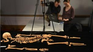 The bones found beneath a car park in Leicester which were confirmed as the remains of King Richard III.