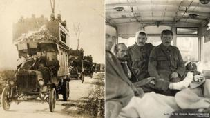 B-type London buses transporting troops and used as an ambulance in the First World War