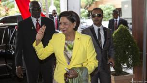 Prime Minister of Trinidad and Tobago Kamla Persad-Bissessar is seen before a meeting with Chinese President Xi Jingping in Port of Spain on June 2, 2013.
