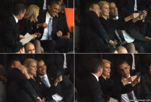 Composite of David Cameron and Barack Obama as Helle Thorning Schmidt takes a selfie, photo on her phone, during the Mandela memorial service, 10 Dec 2013