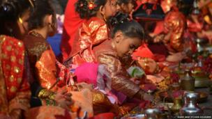 The Bel Biwaha or Ihi, a unique Newari tradition of marrying a girl child between 5 and 9 years old to the bel fruit in Nepal. Photo: Marie Ange Sylvain-Holmgren