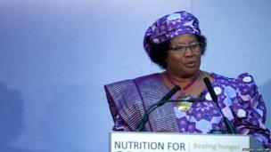 President of Malawi Joyce Banda addresses the Nutrition for Growth global hunger summit in central London on June 8, 2013, ahead of the G8 summit in Northern Ireland.