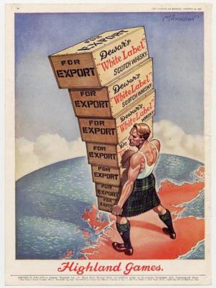 Advertising poster for Dewar's whisky from the 1940s