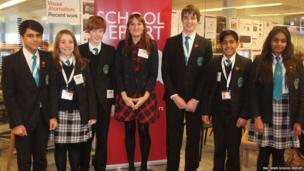 From left to right Sanj, Emma, James, Ms Peel, Anthony, Amir and Avni from The Compton School