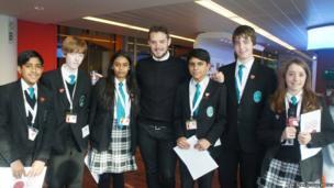 The Compton School Reporters pose with John Whaite