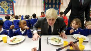 Mayor of London Boris Johnson meets pupils at the Reach Academy in Feltham, West London. The Mayor launched plans for a new free school.