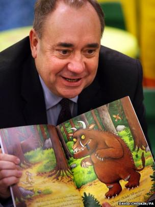 Scottish First Minister Alex Salmond visits a childcare centre in Edinburgh, ahead of a debate at the Scottish Parliament on Scottish Independence.
