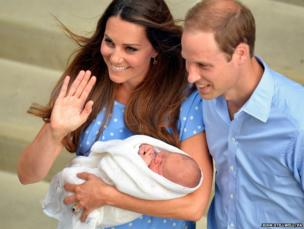 The Royal couple and their son leave the Lindo Wing of St Mary's Hospital in west London, 23 July 2013
