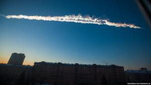 A meteorite contrail over the Ural Mountains, 15 February 2013