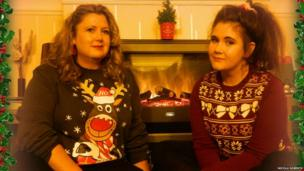 Nicola Roberts and daughter Louise wear their jumpers with pride.