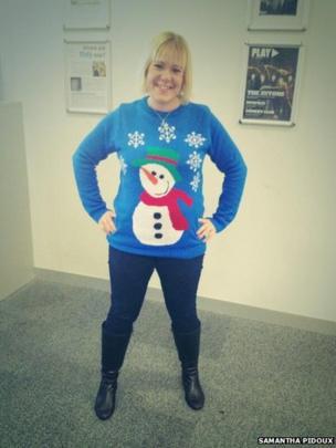 Samantha Pidoux in a snowman jumper