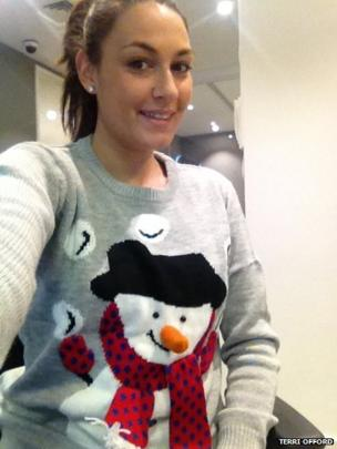 Terri Offord in a snowman jumper