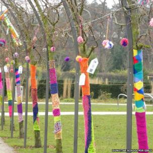 Yarn bombing at Reigate's Priory Park